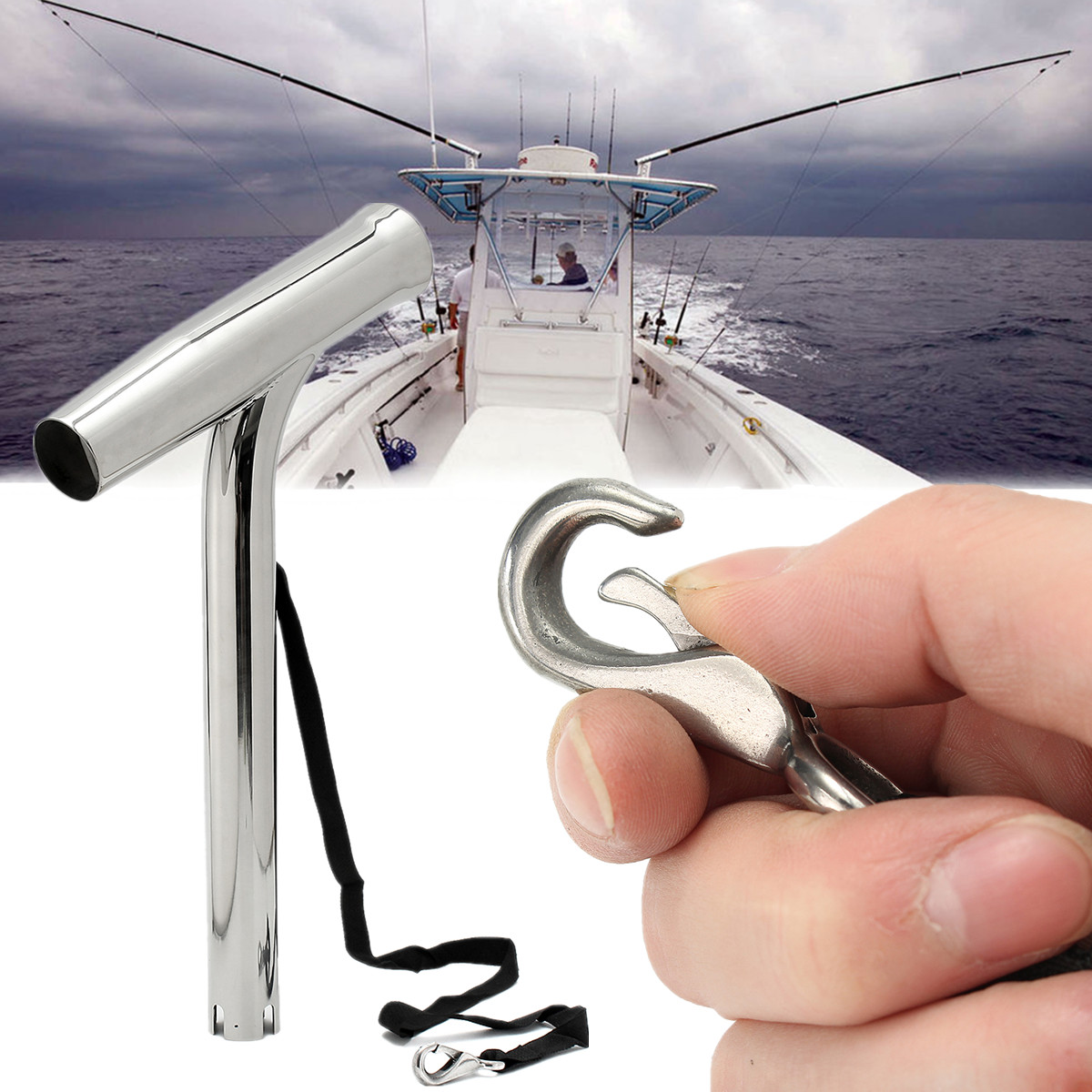 """Marine 10/"""" Boat Fishing Rod Holder Outrigger Plug-in Stainless Steel Rod Pod"""