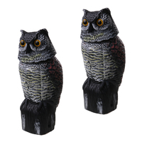 2 Pieces Plastic Realistic Owl Decoy With Rotating Head Bird Pigeon Crow Scarer Scarecrow Hunting Decoy