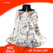 Girls Winter Coat 2018 Winter Children Clothing Cotton Down Princess Girls Coat Print Mandarin Collar Baby Girl Clothes цена