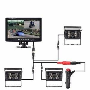 "Image 4 - OHANEE 7 ""TFT LCD araba monitör ekran DC 12 V 24 V ve 4 Pin IR gece görüş dikiz kamera otobüs kamyon RV karavan römorkları"