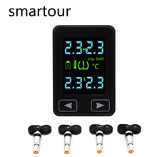 Smartour Android touch Auto Wireless TPMS Tire Pressure Monitoring System with 4 Sensors LCD Display Embedded Monitor For Toyota careud truck auto u901 tpms car wireless tire pressure monitoring system lcd display 4 replaceable battery sensors
