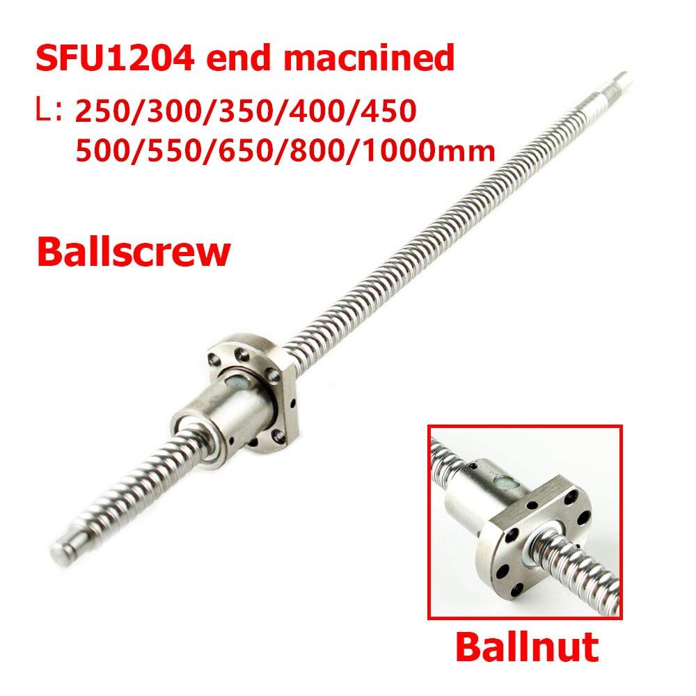 Ballscrew SFU1204 250 milímetros 300 350 400 450 500 550 600 650 800 1000 1500 milímetros w Parafuso Bola Ballnut RM 1204 Final Usinado CNC
