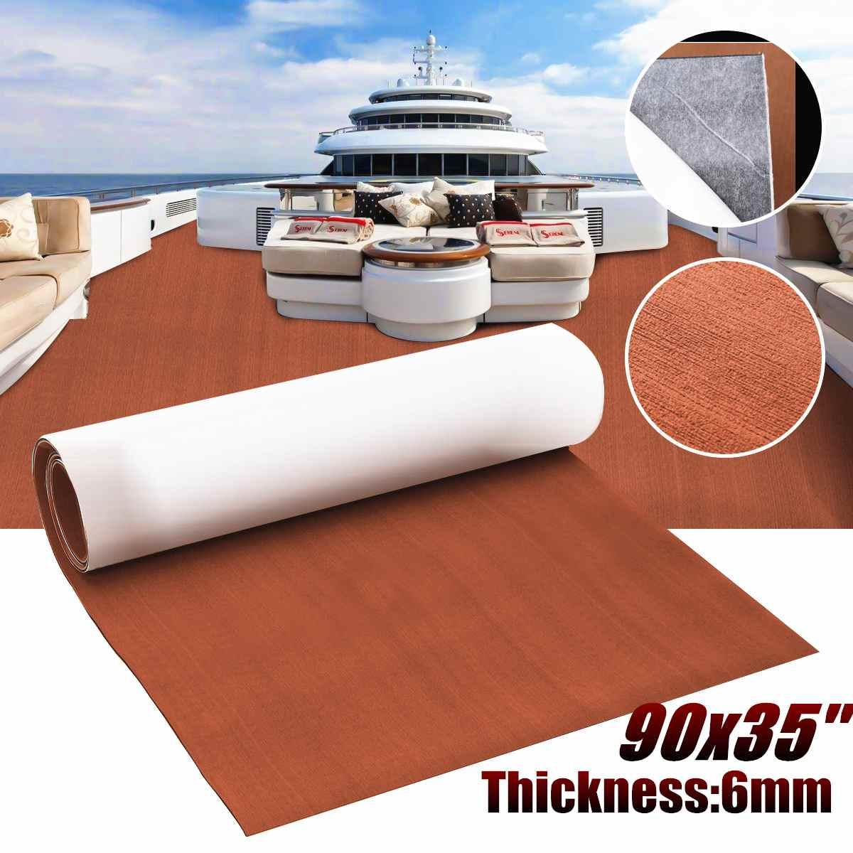 230x90x0.6 cm brun foncé EVA mousse teck pont feuille tapis tapis auto-adhésif bateau Yacht RV camping-car synthétique platelage mousse tapis de sol