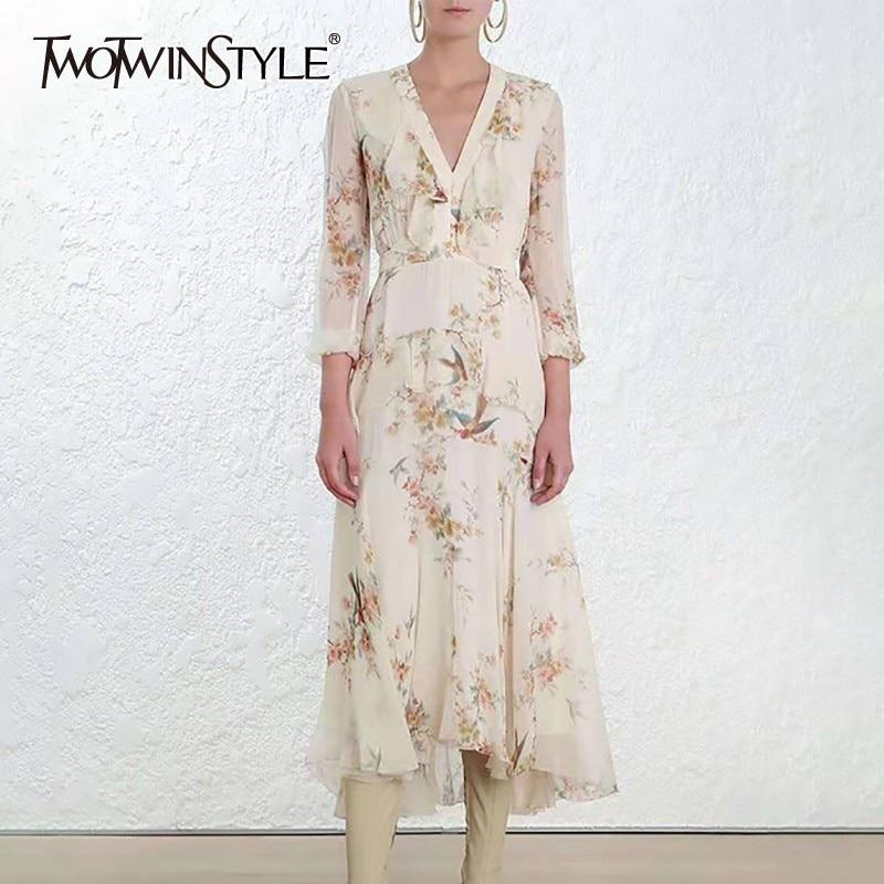 TWOTWINSTYLE Casual Print Women Dress V Neck Wrist Sleeve High Waist Slim Asymmetrical Midi Dresses Female