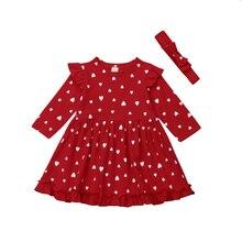 Christmas Princess Baby Girl Dress Love Heart Long Sleeve Mini Dress Ruffles Party Dresses Kids Girl Dresses Red Xmas Clothing
