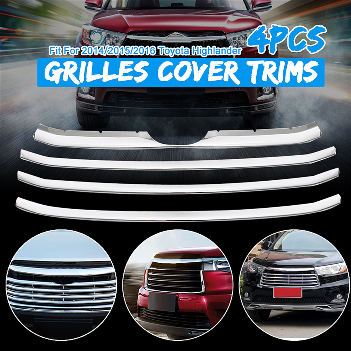Chrome Stainless steel Grill Grilles cover trims for Toyota 2014 2015 2016 HighlanderChrome Stainless steel Grill Grilles cover trims for Toyota 2014 2015 2016 Highlander