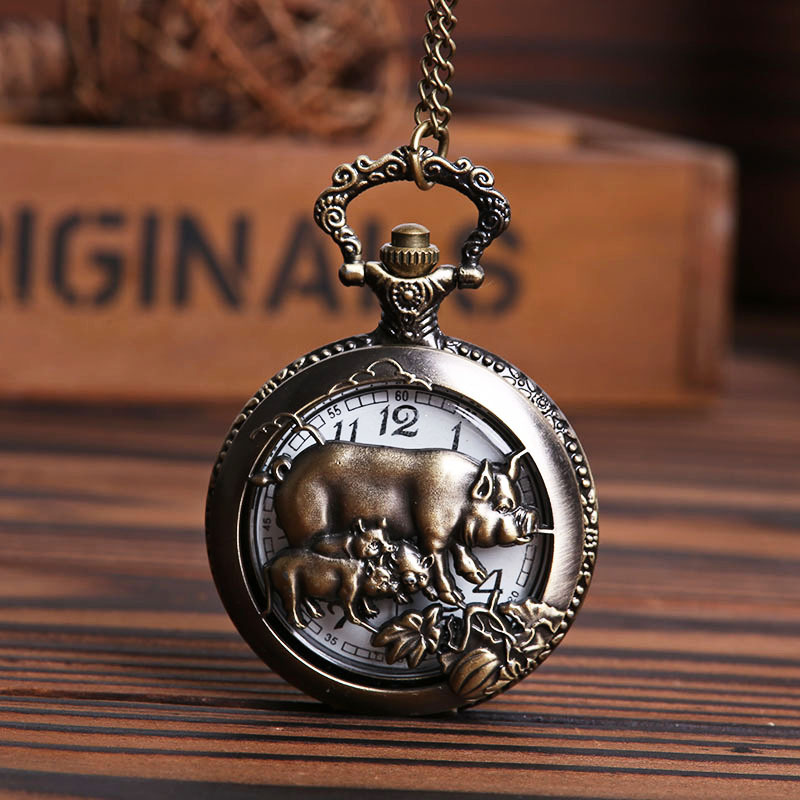 Pocket & Fob Watches Chinese Zodiac Pigs Hollow Out Quartz Pocket Watches Necklace  Watches Gift for Men/Women