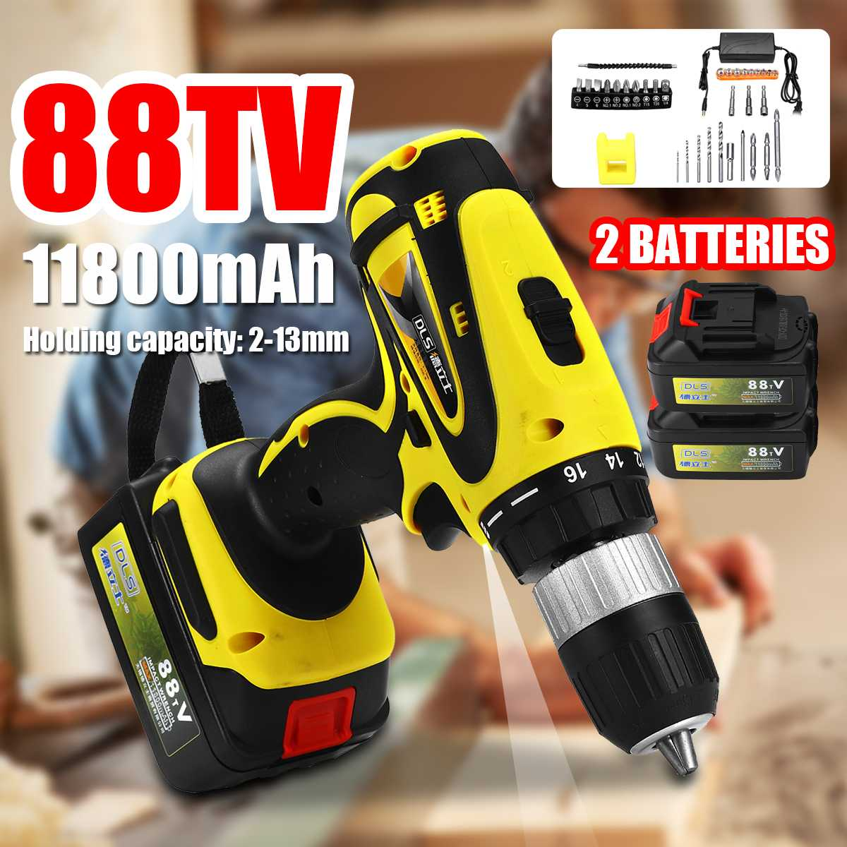 88TV 11800mAh 2-Speed Electric Cordless Drill 2-13MM Screwdriver Rechargeable Lithium Battery*2 60NM Hand Drill Bits Power Tool88TV 11800mAh 2-Speed Electric Cordless Drill 2-13MM Screwdriver Rechargeable Lithium Battery*2 60NM Hand Drill Bits Power Tool
