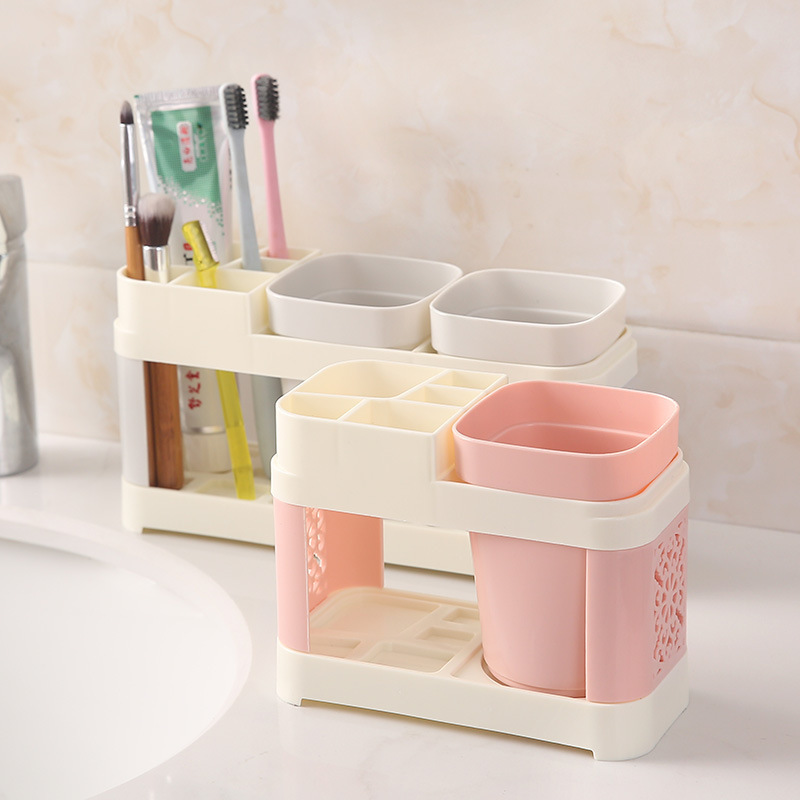 Toothbrush Holder Cup Bathroom Toothbrush Holder Toothpaste Holder Stand Wash Set Bathroom Couple's Brush My Teeth Cup Holder image