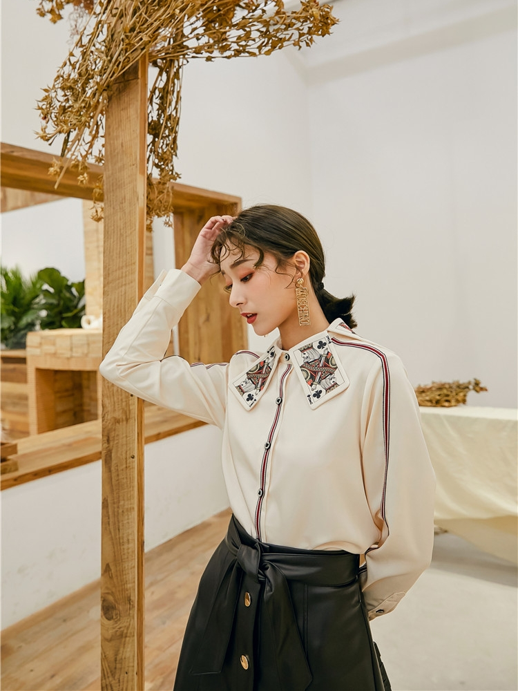 Interesting Playing Cards Print Collar Vintage Palace Style Women Long Sleeve Shirt Spring Summer Elegant Ladies Blouses Tops