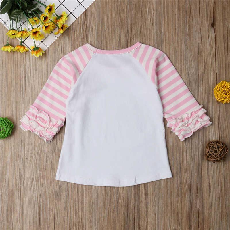Очаровательные девочки-Младенцы кролика блузка рубашки для мальчиков; сезон осень-весна платье в полоску с оборками с рукавом-лепестком; кролик из мультфильма Футболка с принтом Топ Блузка для прогулок