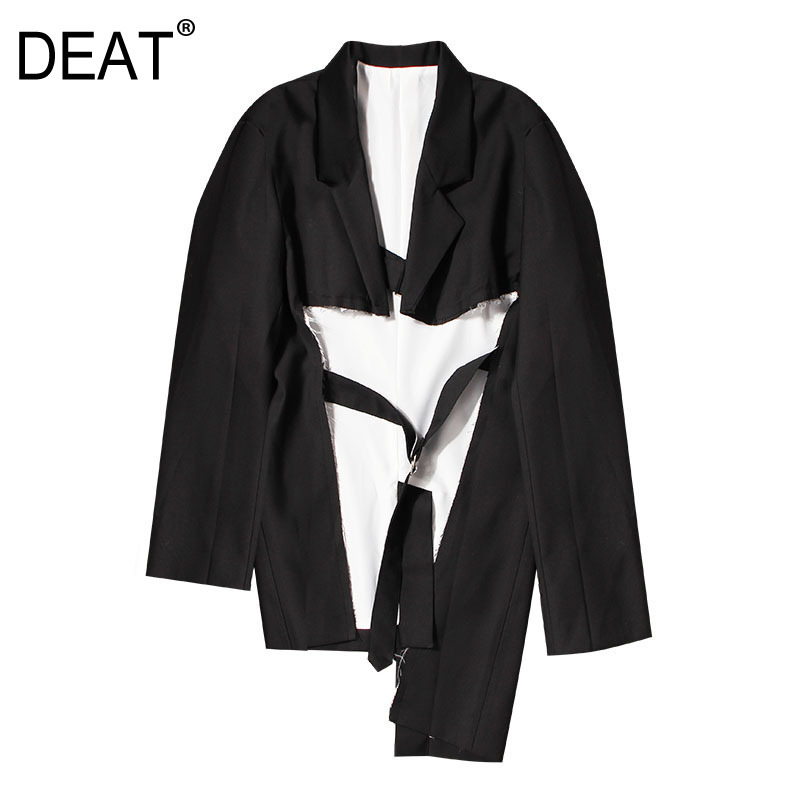 DEAT 2019 new spring and summer fashion women turn down collar full sleeves broken vintage jacket