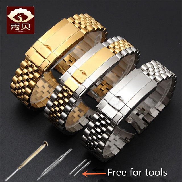 New High quality Stainless Steel Watchband Gold Silver Bracelet with Oyster Buckle 20mm for RX Perpetual Day Date Datejust Watch
