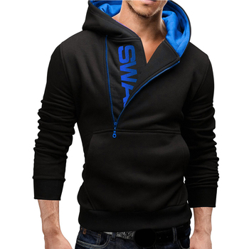 Men's Side Zipper Hooded Hoodie Letter Print Pullover Thick Warm Sweat Shirt Top