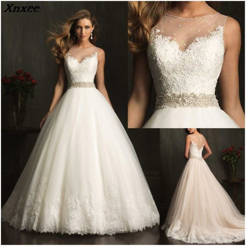 Custom Made Lace Dresses 2018 High Quality Beading A line Bridal Gown Appliques Soft Tulle Vestido