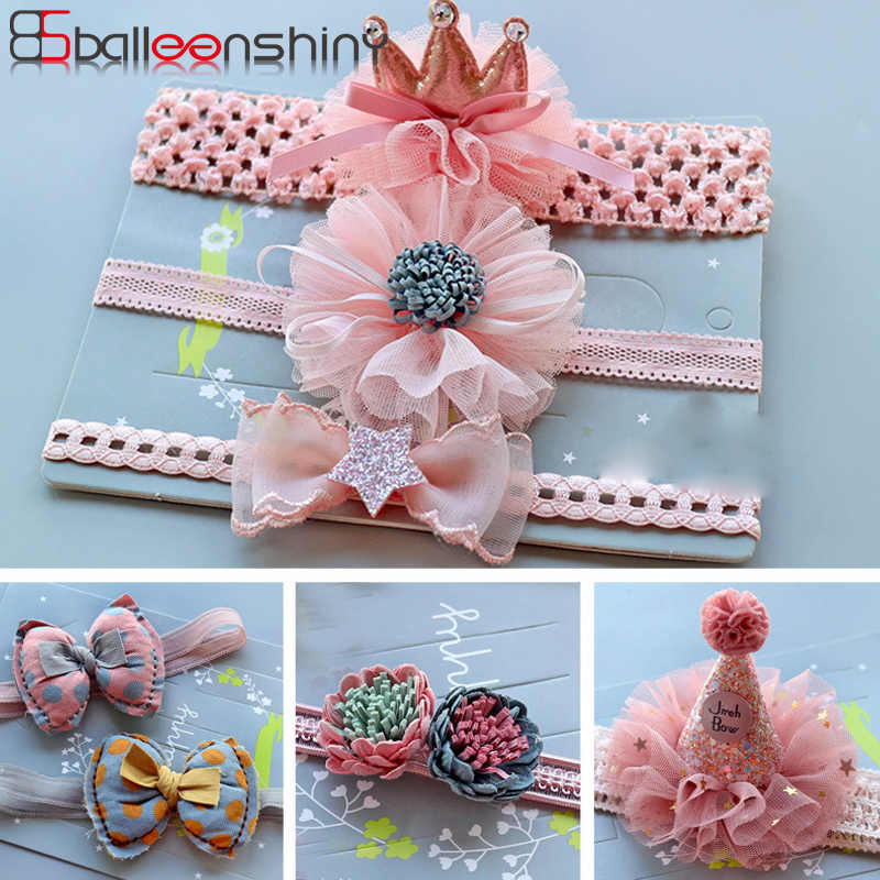 BalleenShiny Princess Headband Baby Girls Elastic Crown Flower Hair Band Child Kids Bow Glitter Turban Cute Beauty Headwear Gift