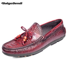 Brand New Full Grain Leather Mens Slip On Driving Moccasins Crocodile Grain Trendy Loafers Leisure Man Loafer Boat Shoes