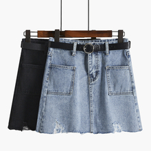 Women Spring Black Blue Solid Casual High Waist A-line Denim Skirts Summer Street Pockets All-matched Jeans Skirt