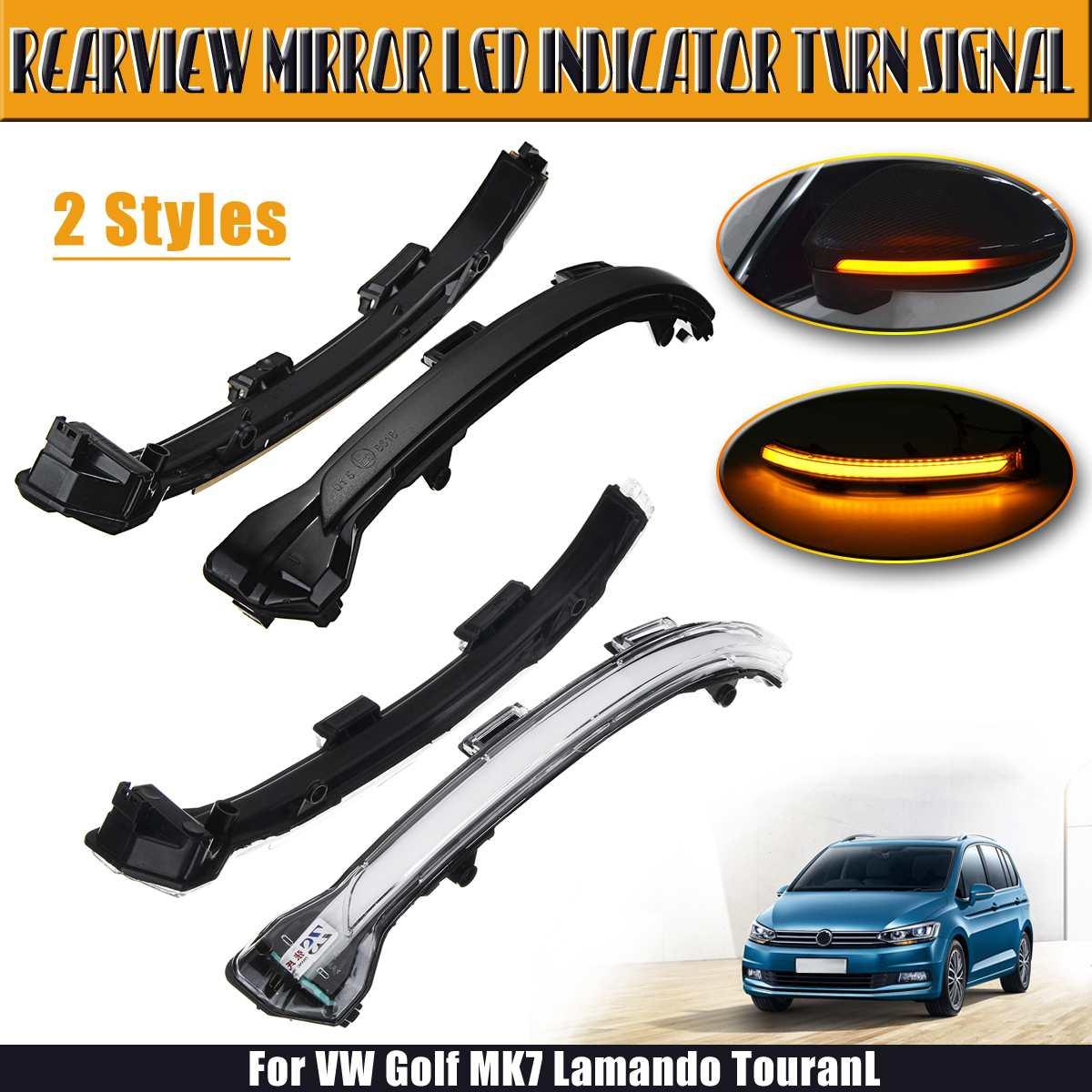 Rétroviseur indicateur LED clignotant pour Volkswagen pour VW Golf MK7 Lamando TouranL fumé noir/blanc