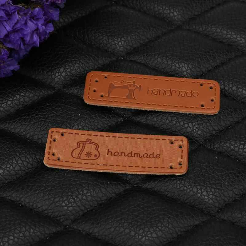 12Pcs/set Hand Made Labels Brown PU Leather Tags 5x1.5cm On Jeans Clothes Garment Labels For Jeans Bags Shoes Sewing Accessories