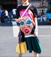 5760767620b044 LANMREM 2019 Summer New Pattern O Neck Short Sleeve Stitching Ruffles Hem  Abstract Printing Ladies Fashion