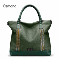 Osmond Brand Green Women Shoulder Bag Fashion Luxury Handbags Soft Leather Large Capacity Tote Bag Female Casual Messenger bag