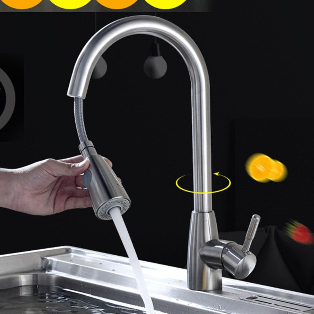 Robinet de cuisine Durable pivotant robinet monotrou Nickel brossé flux Rotation mélangeur évier tirer poignée pulvérisateur pulvérisation