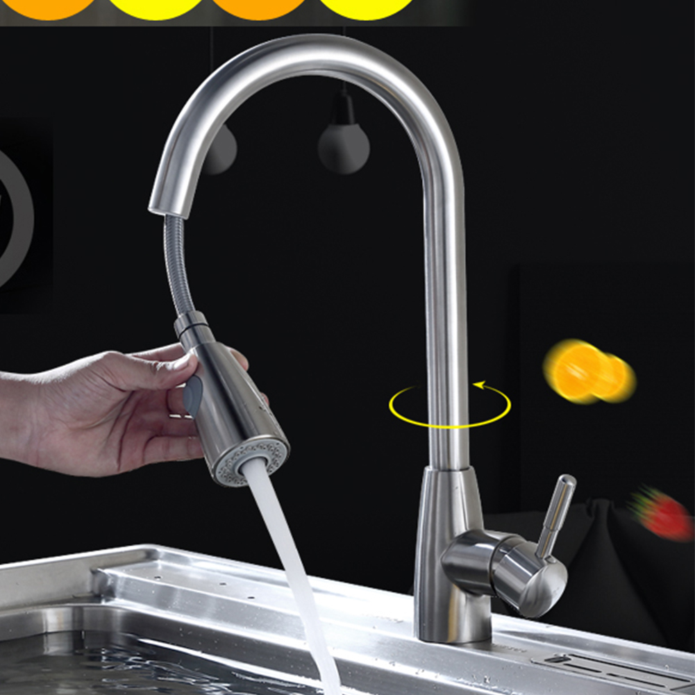 Sink Swivel Handle Single Hole Mixer Kitchen Faucet Stainless Steel Stream Pull Out Brushed Nickel Durable Sprayer Tap