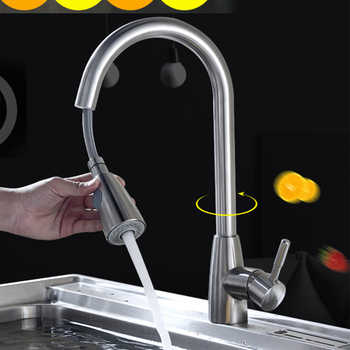 Sink Swivel Handle Single Hole Mixer Kitchen Faucet Stainless Steel Stream Pull Out Brushed Nickel Durable Sprayer Tap - Category 🛒 Home Improvement