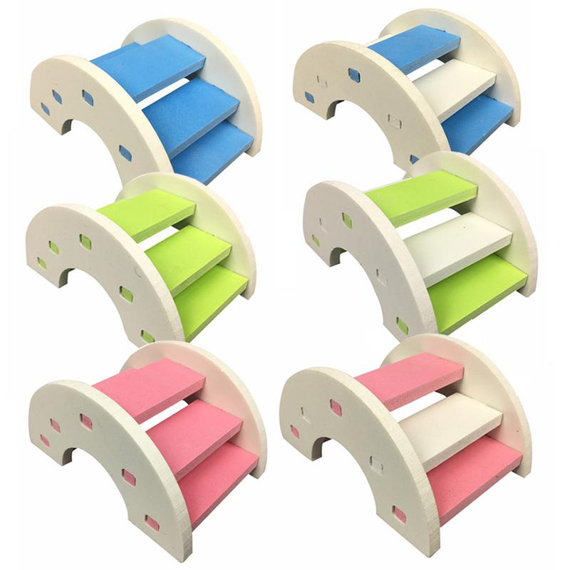 Cute Hamster Ladder Rainbow Bridge font b Pet b font Toys Wooden Bridge Hanging toys Small