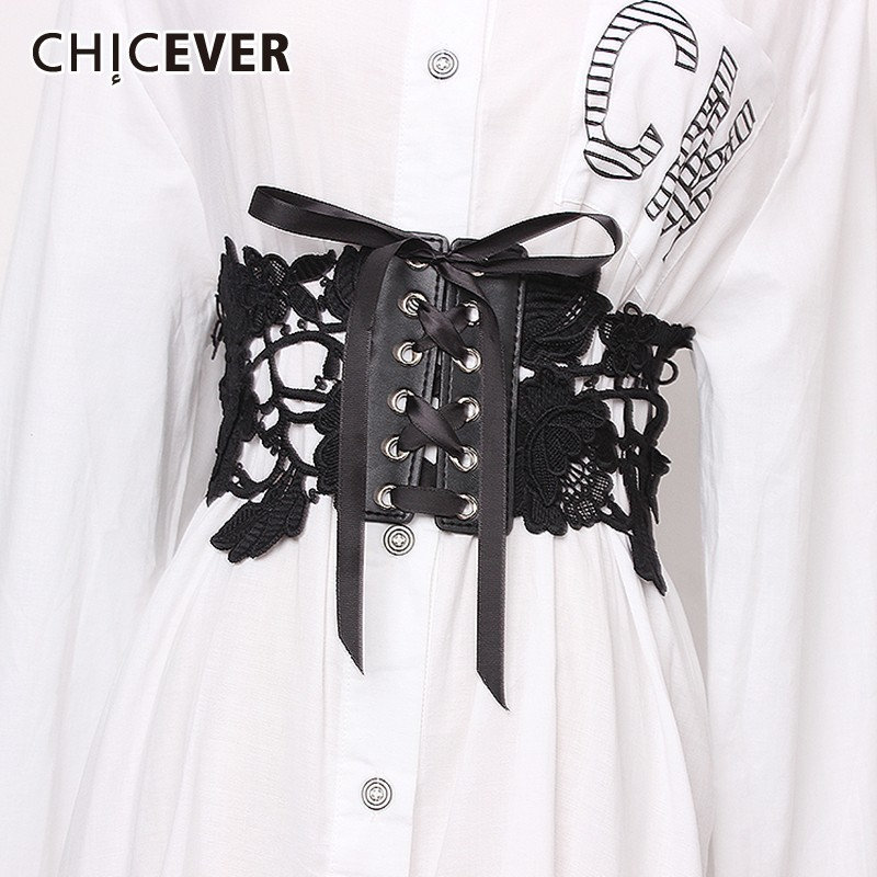 CHICEVER Summer Vintage Hollow Out Lace Patchwork Lace Up Bow Belt For Women Wide Solid Female Belts 2019 Fashion New Tide