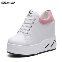 SWYIVY للمرأة منصة أحذية رياضية 2019 موضة جديدة أبي أحذية ربيع أنثى حذاء كاجوال كعب عالي وردي/أخضر/أسود أحذية رياضية