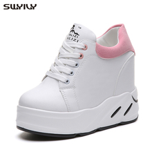 SWYIVY Womens Platform Sneakers 2019 New Fashion Dad Shoes Spring Female Casual Shoes Wedge High Heel Pink/green/black Sneakers