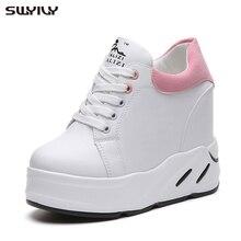 Swyovy zapatillas de deporte con plataforma para mujer, zapatos informales a la moda para papá, con cuña de tacón alto, color rosa, verde y negro, para Primavera, 2019