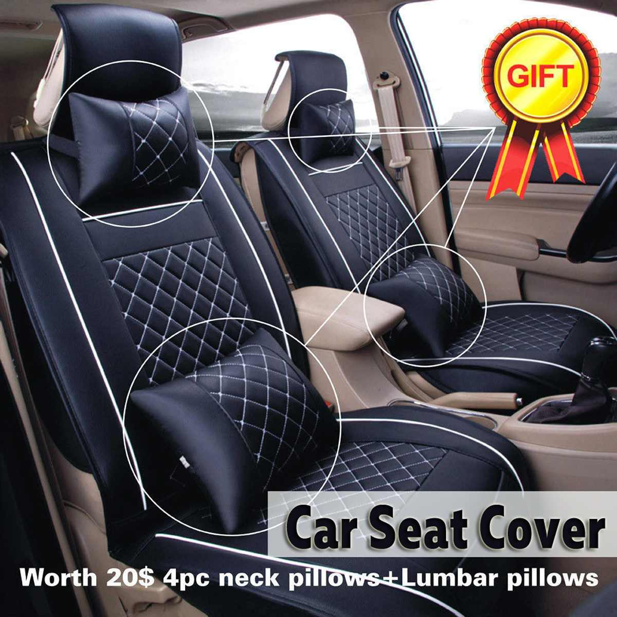 11Pcs/Set Universal Car Seat Cover For Toyota Corolla Accessories Covers For Vehicle Seat Automobiles PU Leather Black White11Pcs/Set Universal Car Seat Cover For Toyota Corolla Accessories Covers For Vehicle Seat Automobiles PU Leather Black White
