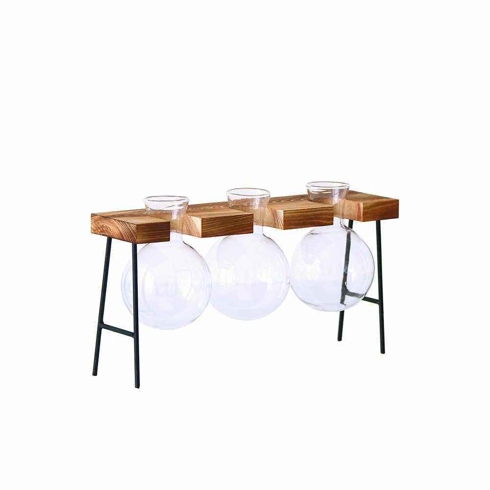 IALJ Топ подвесные светильники ваза гидропоники завод прозрачная деревянная рамки кофе магазин декор комнаты стол Decoratio