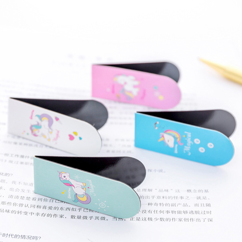 Unicorn Magnetic Bookmark Kawaii Flamingo Books Marker For Kids Girls Cute Book Paper Files Organiser School Supplies Stationery