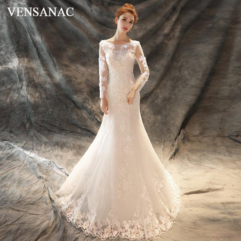 VENSANAC Illusion O Neck Lace Flowers Appliques Mermaid Wedding Dresses Long Sleeve Sweep Train Backless Bridal Gowns