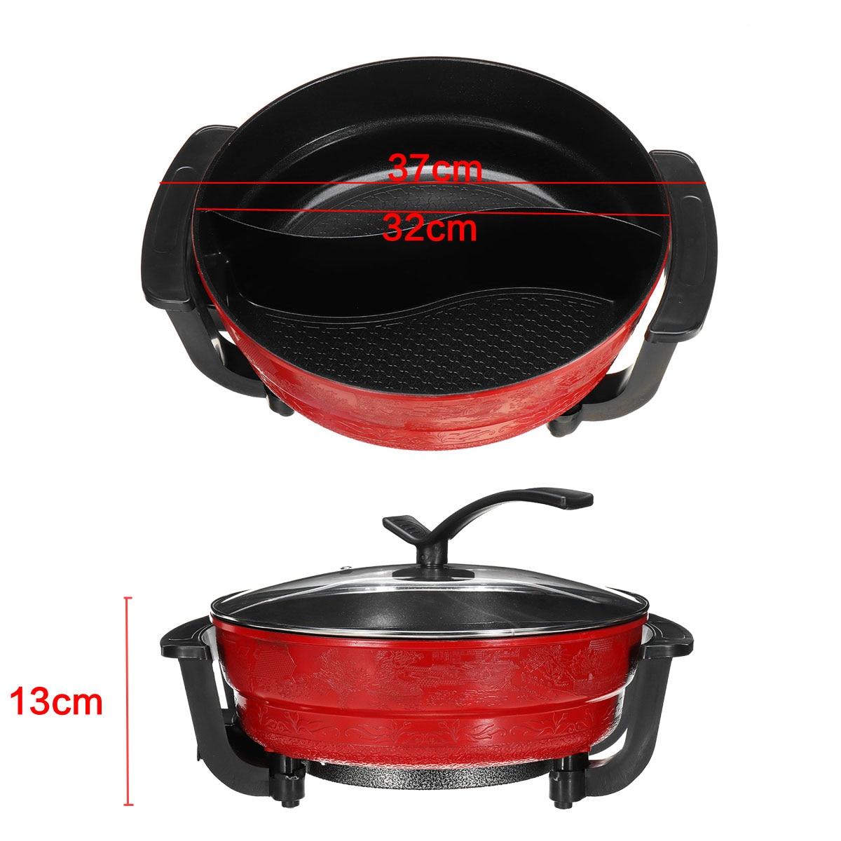 220 V 1300 W 6L électrique Hot Pot 32 cm cuisine soupe marmite ustensiles de cuisine antiadhésif pour cuisinières à Induction marmite - 5