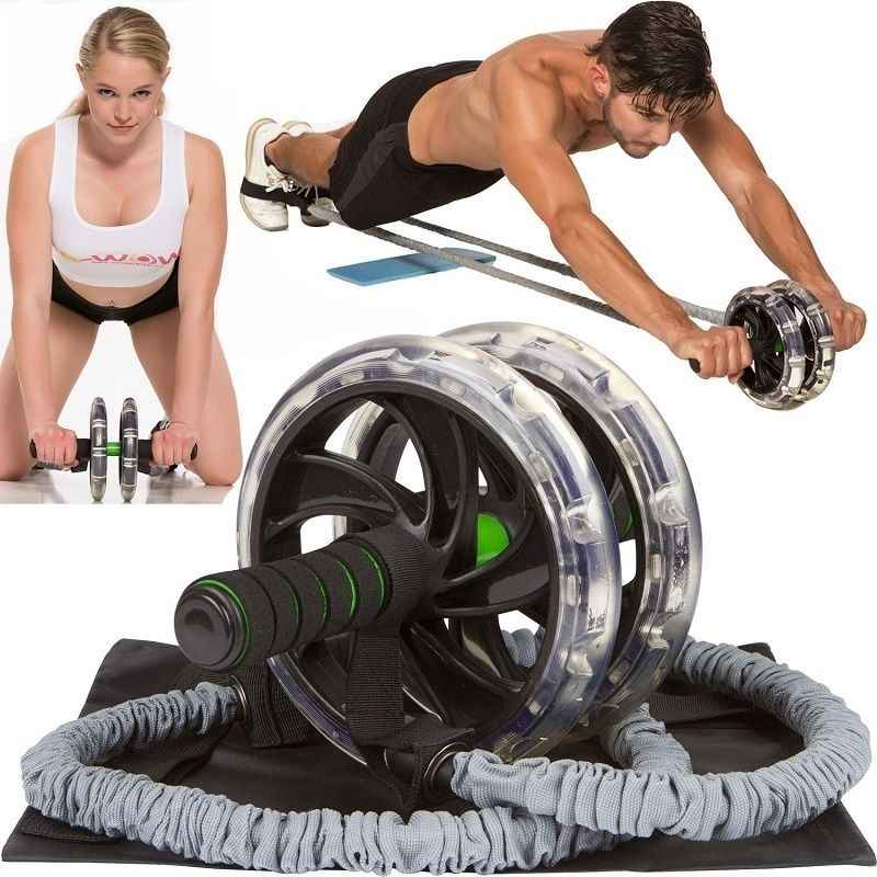 Ab Roller Wheel Pull Rope Waist Outdoor Abdominal Slimming Fitness Equipment Gym Waist Abdominal Slimming Exercise Trainer P30