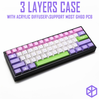 Anodized Aluminium 3 layers acclive angle case for custom mechanical keyboard black siver grey colorway for gh60 xd60 xd64