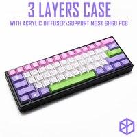 Estojo de alumínio com 3 camadas anodizadas  ângulo acclive  para teclado mecânico personalizado  preto  tamanho cinza  colorido para gh60 xd60 xd64