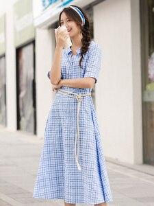 Image 5 - INMAN lato niebiesko biała chusta literacka młoda dziewczyna szczupła linia skręcić w dół kołnierz kobiety sukienka