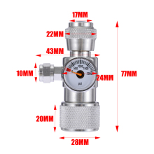 CO2 Aquarium Moss Plant Fish Single Pressure Gauge Regulator Manometer Equipment Silver Aluminium Alloy Accessories