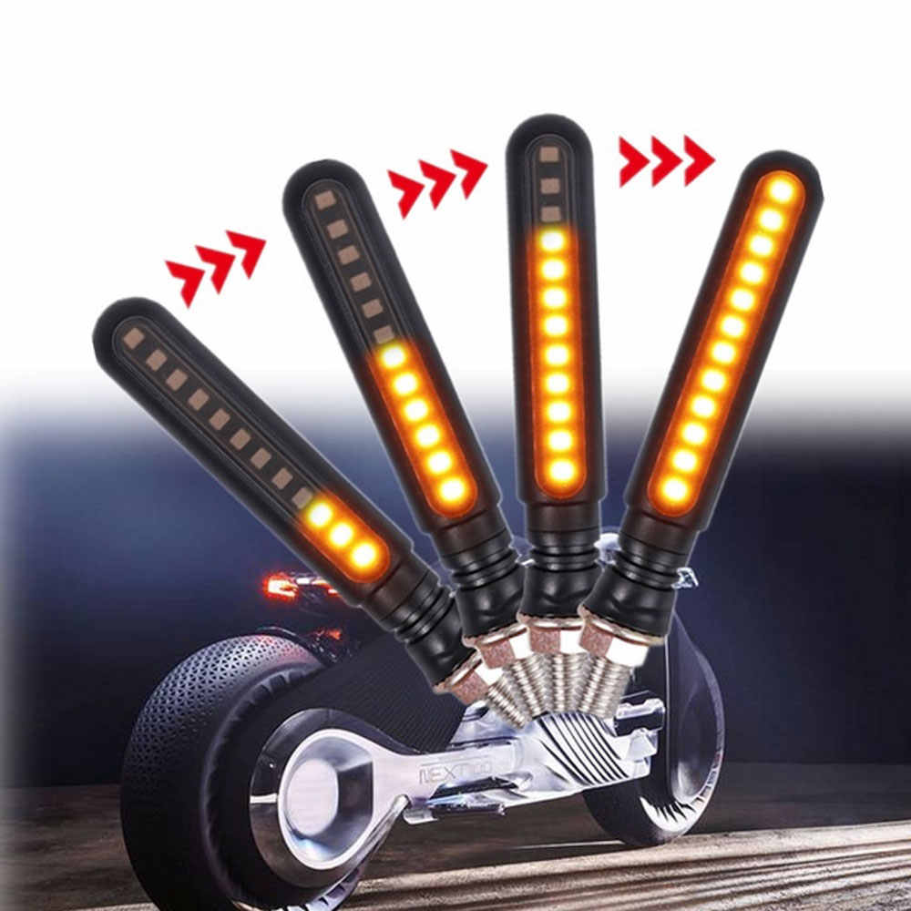 4PCS Motorcycle Turn Signals LED Flowing Water Flashing Lights Stop Signals Tail Blinker Headlight + Rear Light
