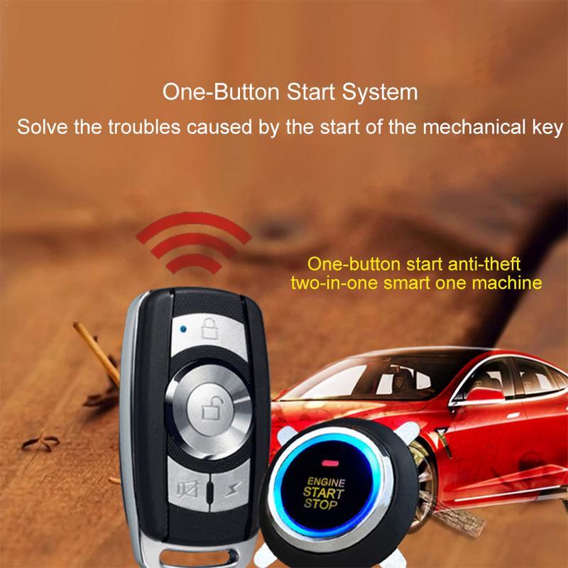 12V universel voiture un bouton système de démarrage clé intelligente Vibration voiture cambrioleur alarme démarrage à distance du moteur