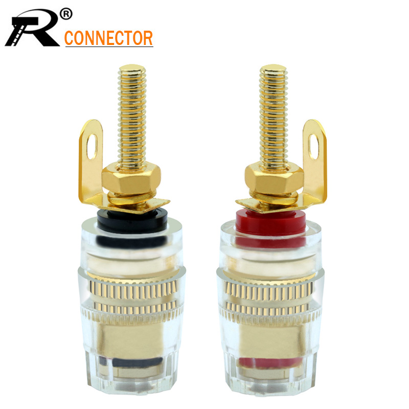 2PCS Gold-plated Binding Post Banana Socket Connector 4mm Banana Plug Amplifier Speaker Terminals Non-magnetic Wire Connector