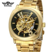 Winner Royal Carving Design Gold Watch Men Stainless Steel Black Skeleton Mens Luxury Watch Top Brand Automatic Watch стоимость