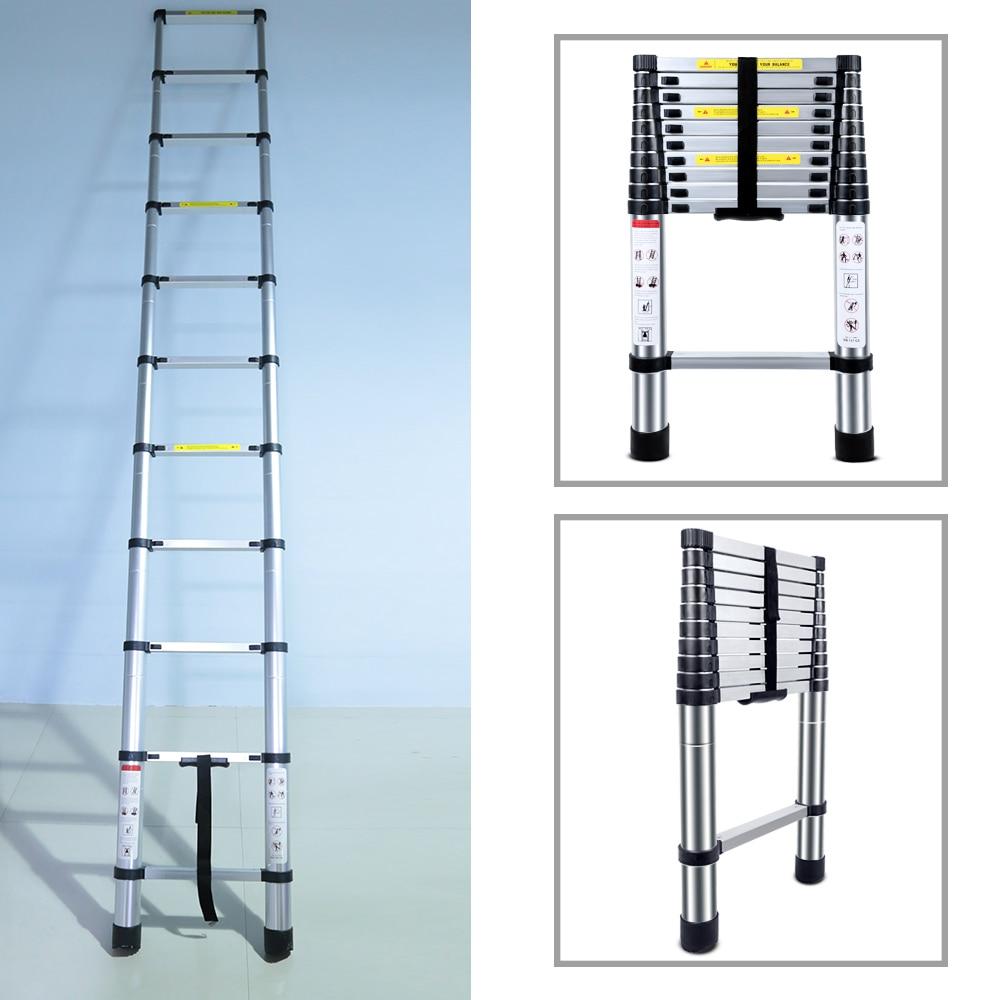 3.2M Multifunctional Portable Aluminium Alloy Telescopic Ladder Strong Extendable Insulation Step Ladder Domestic Folding Ladder3.2M Multifunctional Portable Aluminium Alloy Telescopic Ladder Strong Extendable Insulation Step Ladder Domestic Folding Ladder