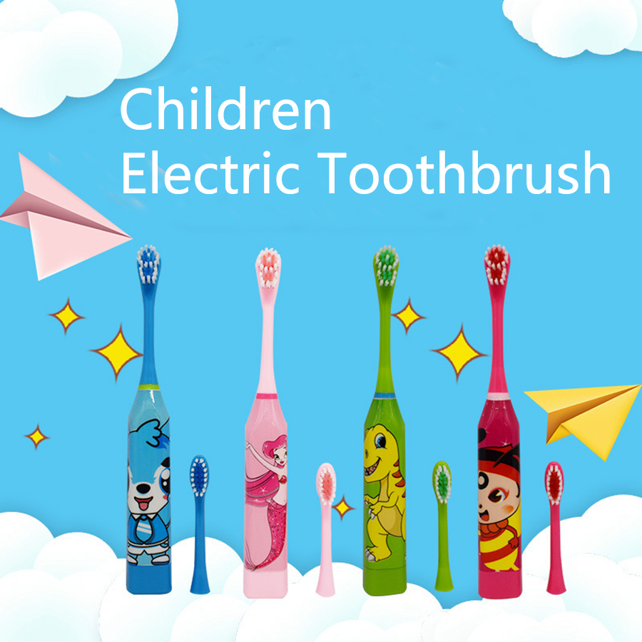 Child Battery Electronic Toothbrush Dental With Lovely Cartoon Children Tooth Brush Training For Boys Girls Baby Electric Brush image